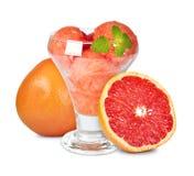 Grapefruit sorbet. Fresh grapefruit sorbet isolated on white background Royalty Free Stock Photo
