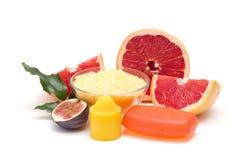 Grapefruit spa producten Stock Fotografie
