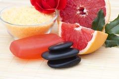 Grapefruit spa producten Stock Foto's