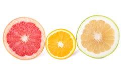 Grapefruit, sweetie and orange Stock Photos