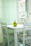 Grapefruit on table. Green grapefruit on white table Stock Photos