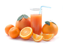 Grapefruit tangerin and orange and juice glass Royalty Free Stock Photos