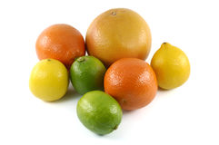Grapefruit, tangerines, limes and lemons, close up Royalty Free Stock Image