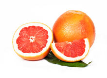 Grapefruit, witte achtergrond Stock Foto's