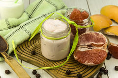 Grapefruit yogurt Royalty Free Stock Photo