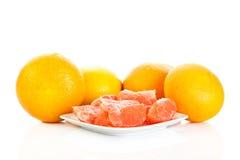 Grapefruitowy odosobniony na białych tło owoc karmowych Zdjęcia Stock