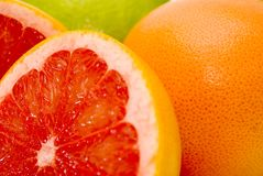 Grapefruits. Citrus Fruits - red and green grapefruits Royalty Free Stock Image