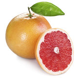 Grapefruits with green leaf. Royalty Free Stock Photo