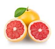 Grapefruits isolated on white. Background Stock Photos
