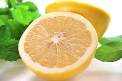Grapefruits with mint Stock Photo