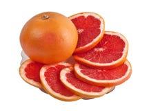 grapefruits talerz zdjęcie stock