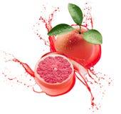 Grapefruits w soku bryzgają odosobnionego na białym tle obrazy stock