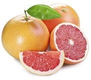 Grapefruits z zielonym liściem. fotografia royalty free
