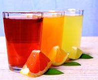 Grapefrukt apelsiner, limefrukt - citrusa fruktsafter i exponeringsglas royaltyfri bild