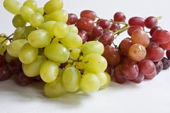 Grapes. Buches of green and red grapes against a white background Royalty Free Stock Photos