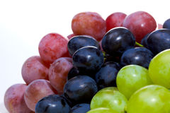 Grapes. Three sorts of grape isolated on white royalty free stock photo