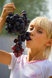 Grapes. The girl eats grapes, summer vocation royalty free stock images