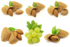 Grapes and almonds Royalty Free Stock Photography