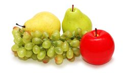Grapes, apple and pears isolat. Ed on  white Stock Image