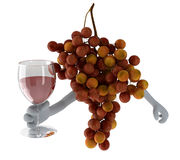 Grapes with arms and glass of wine on hand Stock Photography