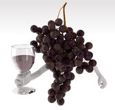 Grapes with arms and glass of wine on hand Royalty Free Stock Photos