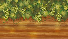 Grapes banner with wooden background Stock Photo