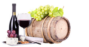 Grapes on a barrel, wine  and cheese Stock Photography