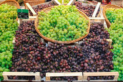 Grapes and basket. Grapes that flows from wicker basket on the shelf in the store bulk black Stock Photo