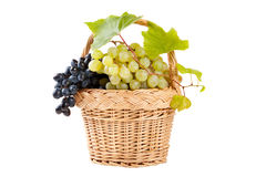 Grapes in basket with vine leaves Royalty Free Stock Image