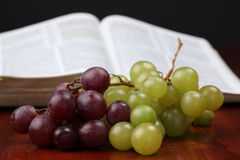 Grapes and the Bible Stock Photo