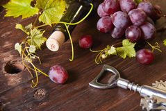 Grapes and bottle Stock Photo