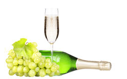 Grapes  with bottle of champagne and glass Stock Image