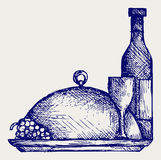 Grapes, bottles and glasses of wine on round tray royalty free illustration