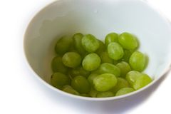 nice green grapes in the bowl stock images
