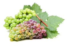 Grapes. Bunch of red grape with leaf. Isolated on white background stock photo