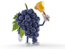 Grapes character with handbell. Isolated on white background Royalty Free Stock Photos