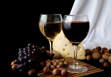 Grapes and cheese Royalty Free Stock Images