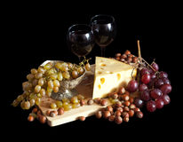 Grapes and cheese Stock Photos