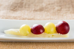 Grapes with cheese Royalty Free Stock Photography
