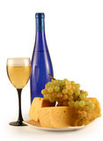 Grapes, cheese and a glass Royalty Free Stock Images