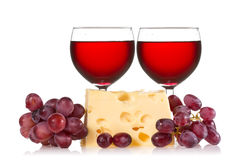 Grapes, cheese and red wine Royalty Free Stock Images