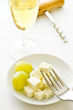 Grapes cheese and wine Royalty Free Stock Image