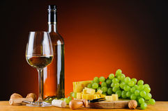 Grapes, cheese and wine Stock Photo
