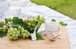 Grapes, Cheese and Yogurt Royalty Free Stock Photo