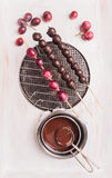 Grapes in chocolate making, preparation Royalty Free Stock Image