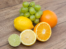 Grapes And Citrus Fruits Royalty Free Stock Images