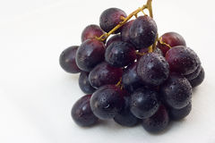 Grapes cluste. Cluster of grapes with water drops on a white linen cloth Royalty Free Stock Photo