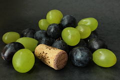 Grapes with cork. You can see friut with cork se decoration stock images