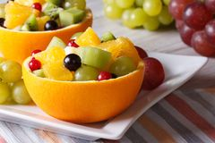 Grapes, currants, pears, kiwi in hollowed-out oranges. Fruit salad with grapes, currants, pears, kiwi in hollowed-out oranges closeup horizontal Stock Images