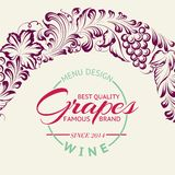Grapes design for wine menu. Stock Photos